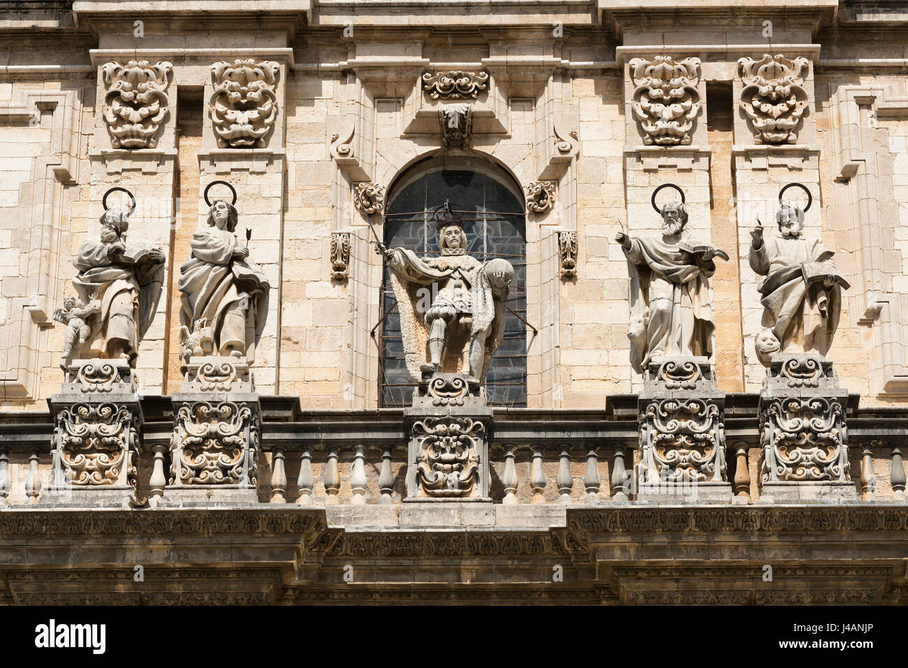 Jaen (Andalucia, Spain): the medieval cathedral, built from 13th to 18th century, in Baroque style. Facade - Stock Image