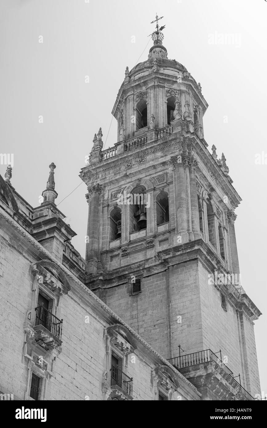 Jaen (Andalucia, Spain): the medieval cathedral, built from 13th to 18th century, in Baroque style. Belfry. Black - Stock Image