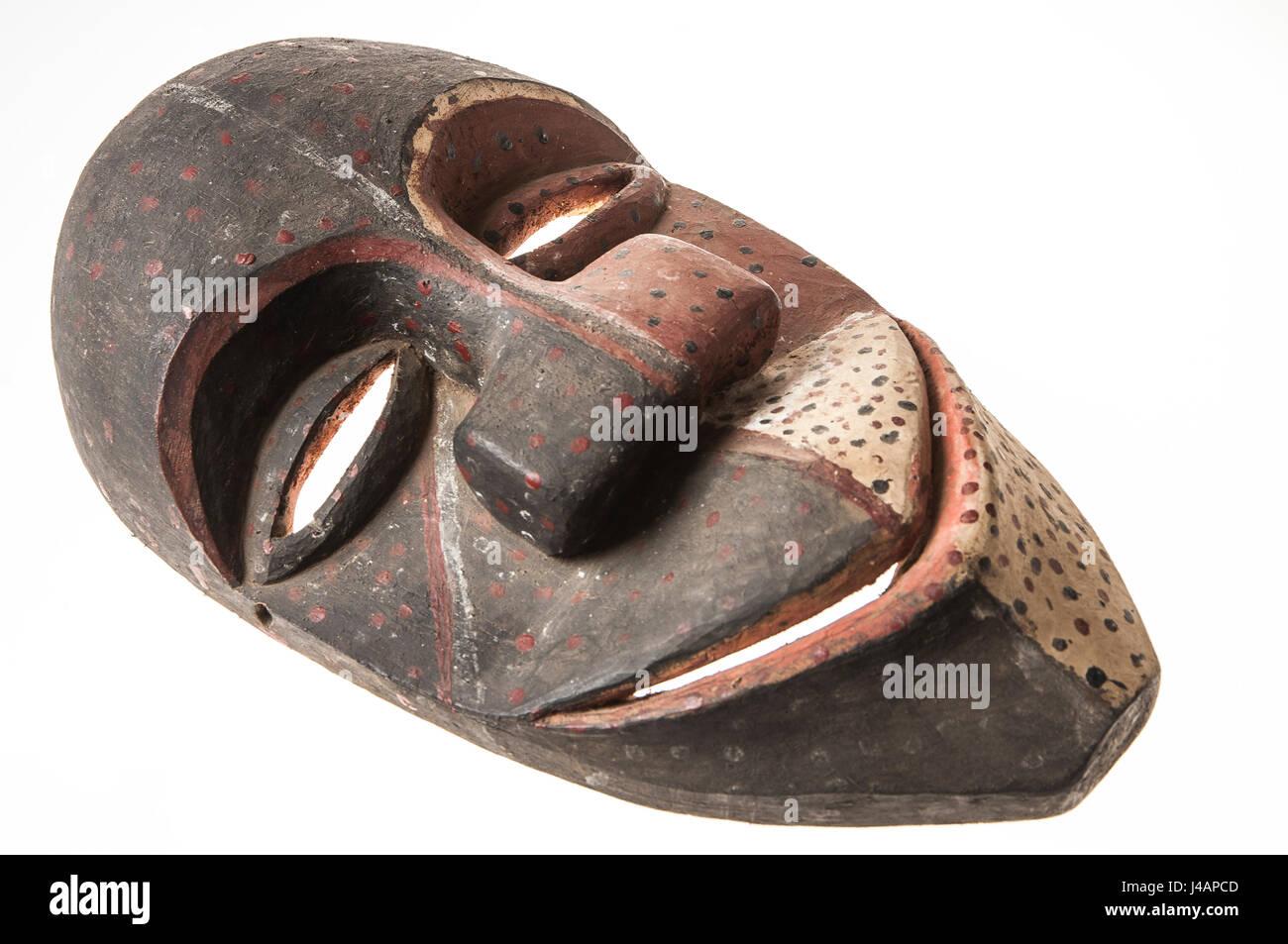 African wooden mask of angola, bakama, isolated on white background - Stock Image