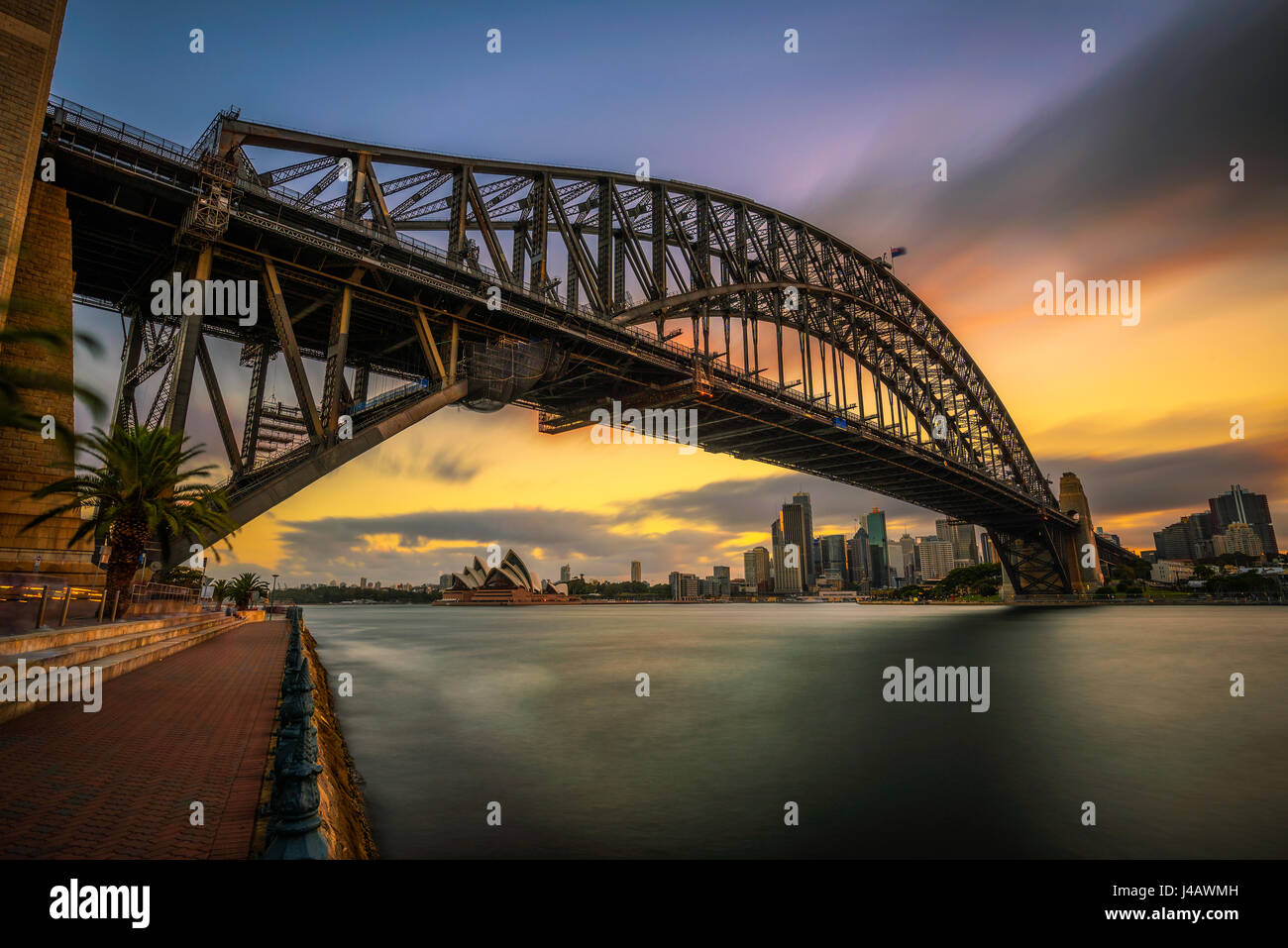 Sunset skyline of Sydney downtown  with Harbour Bridge, NSW, Australia. Long exposure. - Stock Image