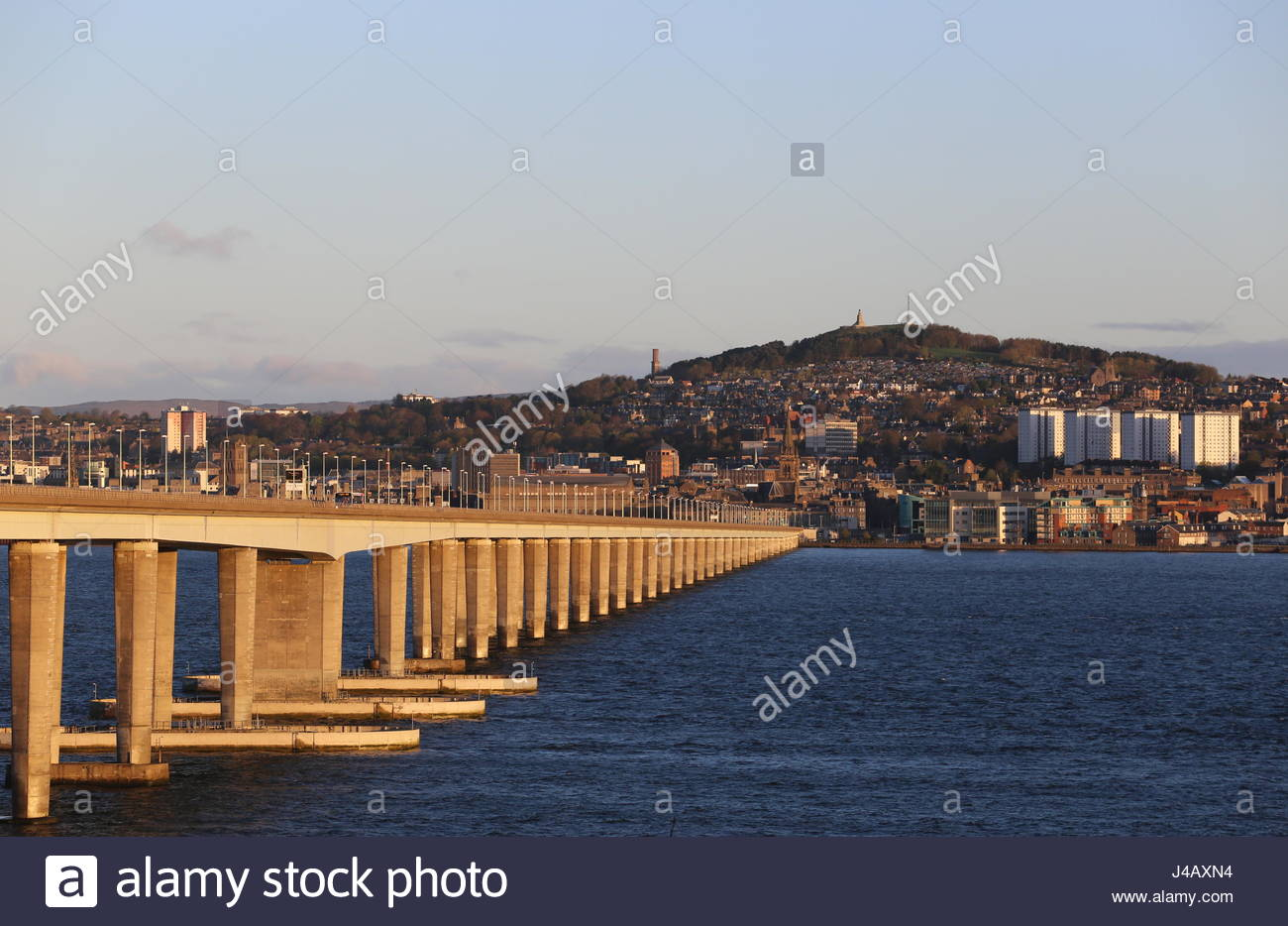 Tay Road bridge and Dundee waterfront at dawn Scotland  April 2017 - Stock Image