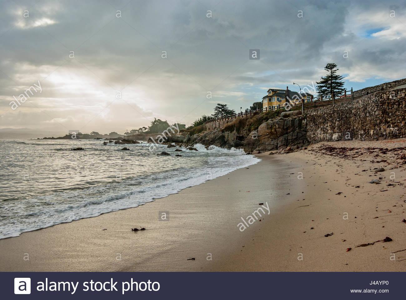 People hike Monterey Peninsula Recreational Trail in Pacific Grove, Calif., Stanford's Hopkins Seaside Laboratory - Stock Image