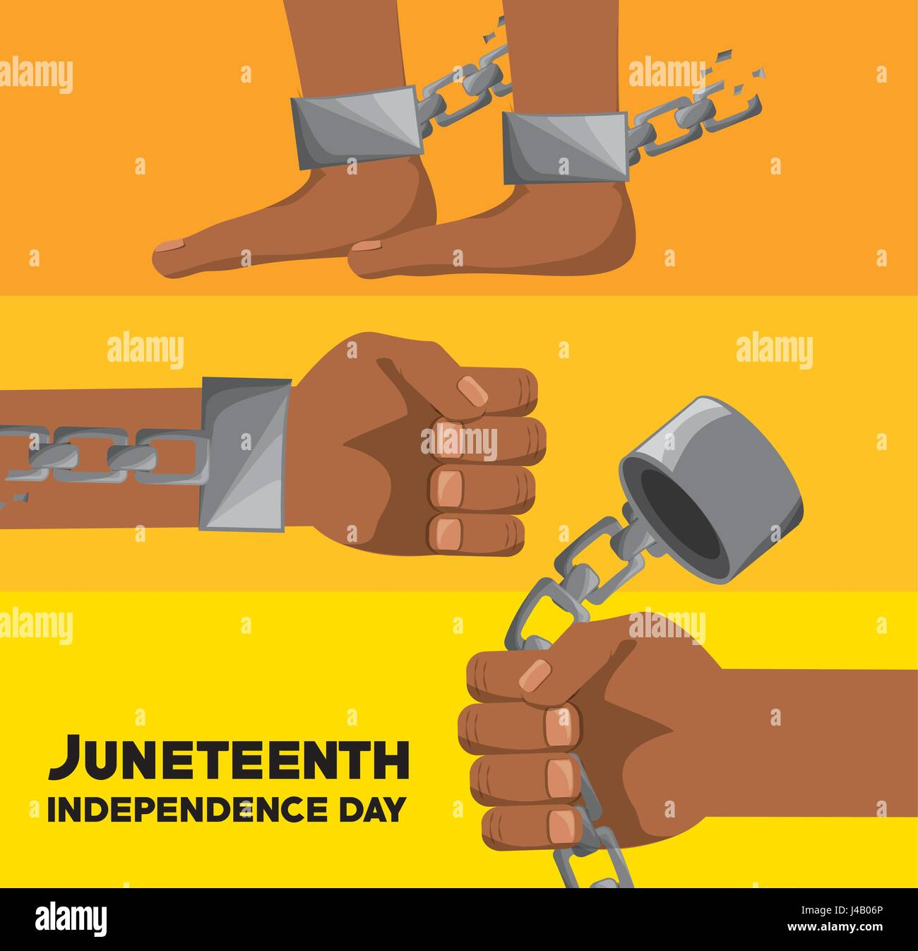 hands and feet with chain to celebrate juneteenth independence - Stock Vector