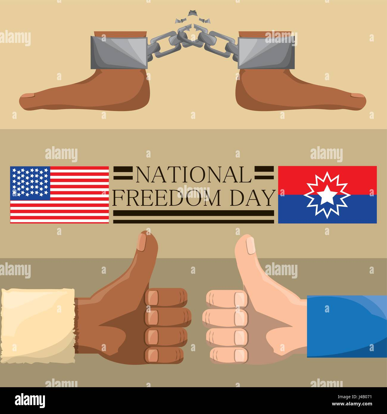 feet with chain and all good hands to celebrate freedom - Stock Vector