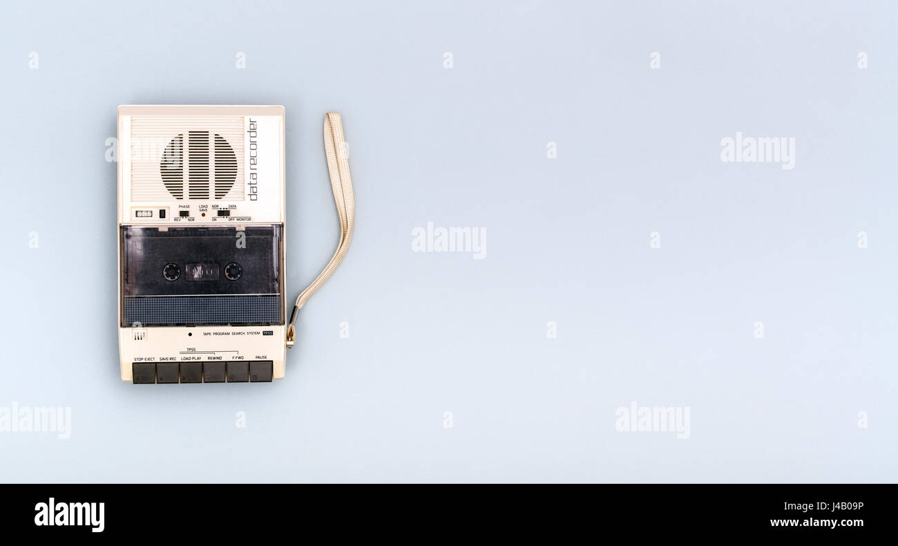 isolated retro cassette recorder header with copy space - Stock Image