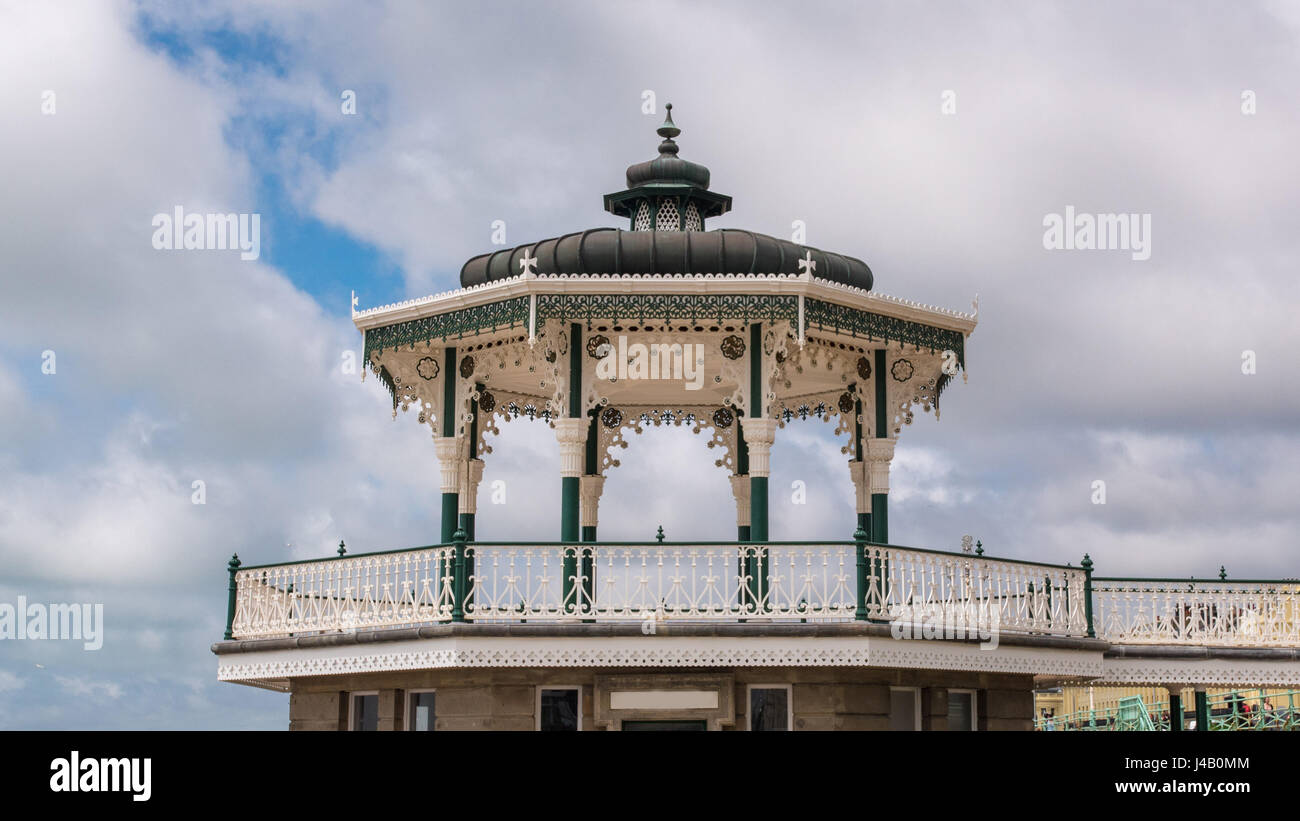 View of the Victorian bandstand near the beach in Brighton and Hove - Stock Image