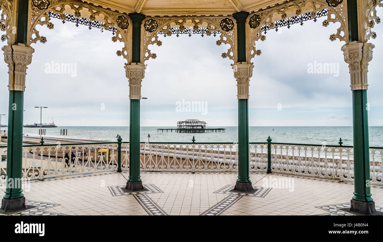The Victorian bandstand near the beach in Brighton and Hove - Stock Image