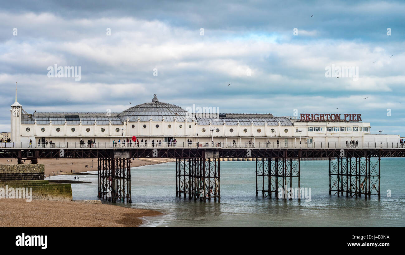 View of the Palace pier in Brighton and Hove - Stock Image