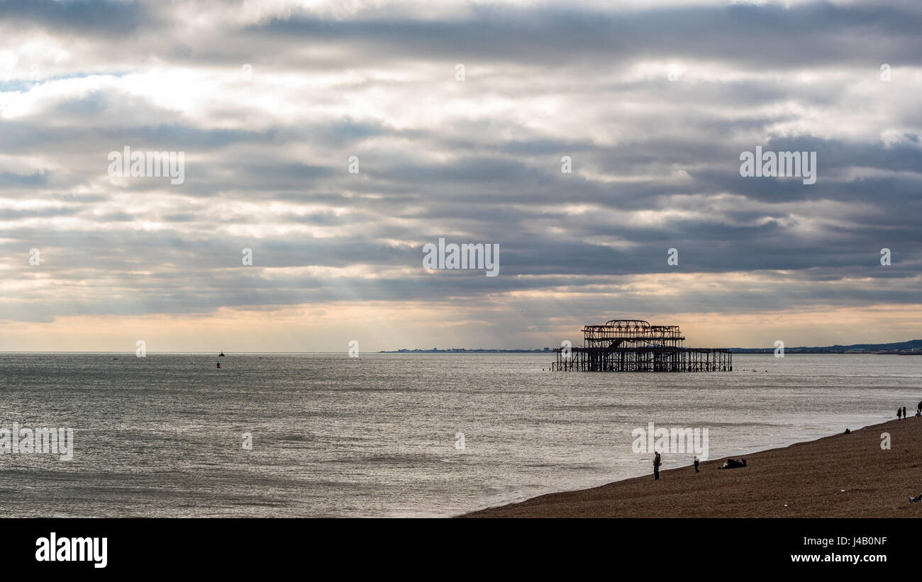 View of the remains of the destroyed West Pier in Brighton - Stock Image