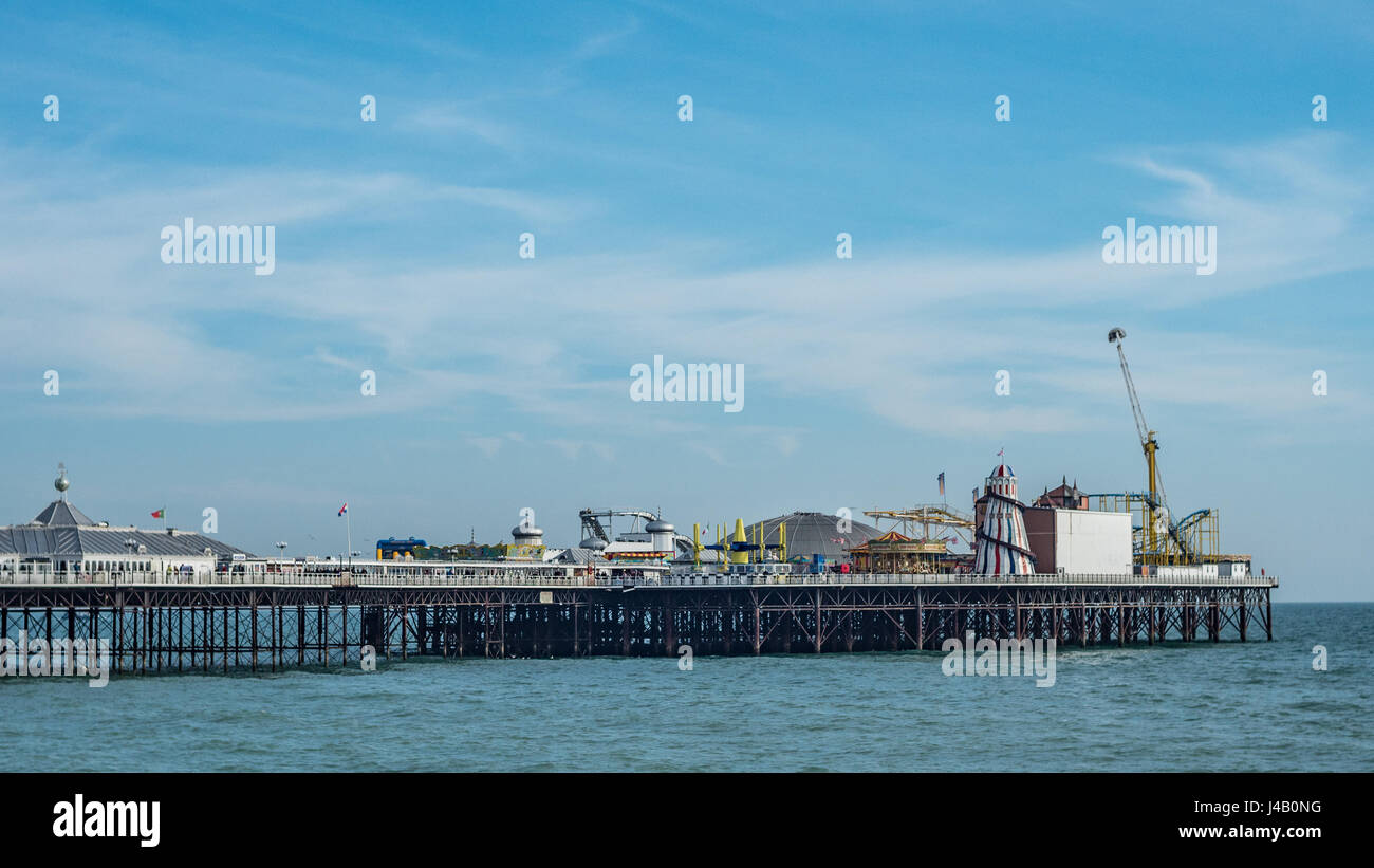 View of the Palace pier in Brighton - Stock Image
