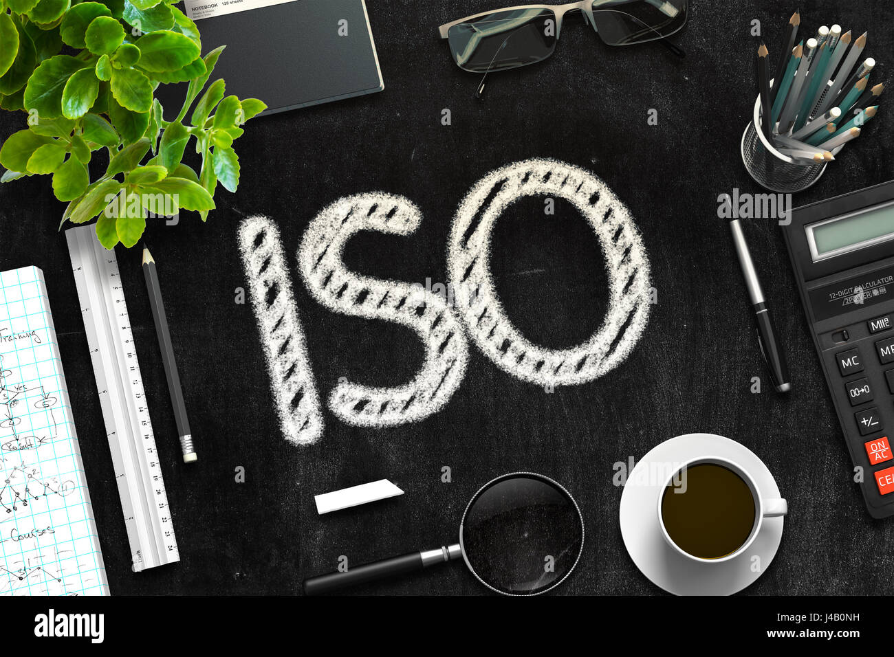 Black Chalkboard with ISO. 3D Rendering. - Stock Image