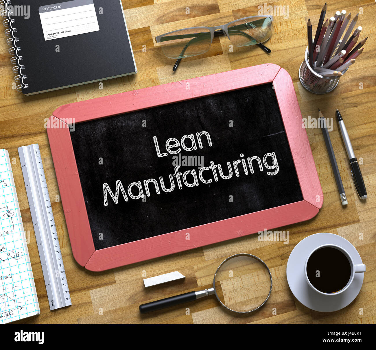 Small Chalkboard with Lean Manufacturing. 3D. - Stock Image