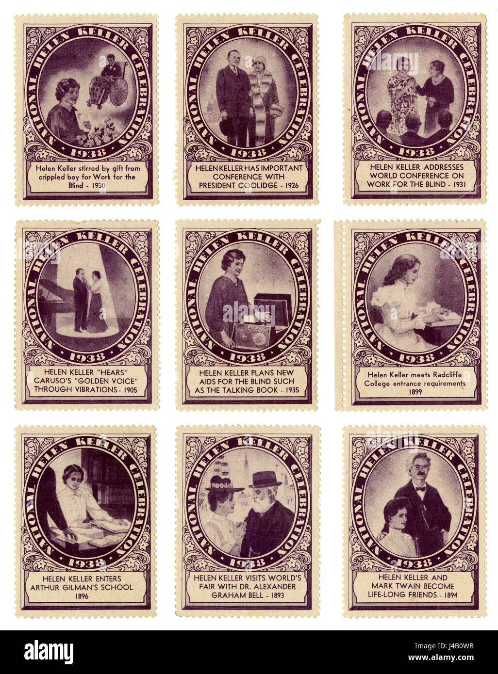 Partial set of antique 'Cinderella' stamps from the 1938 National Helen Keller Celebration. - Stock Image
