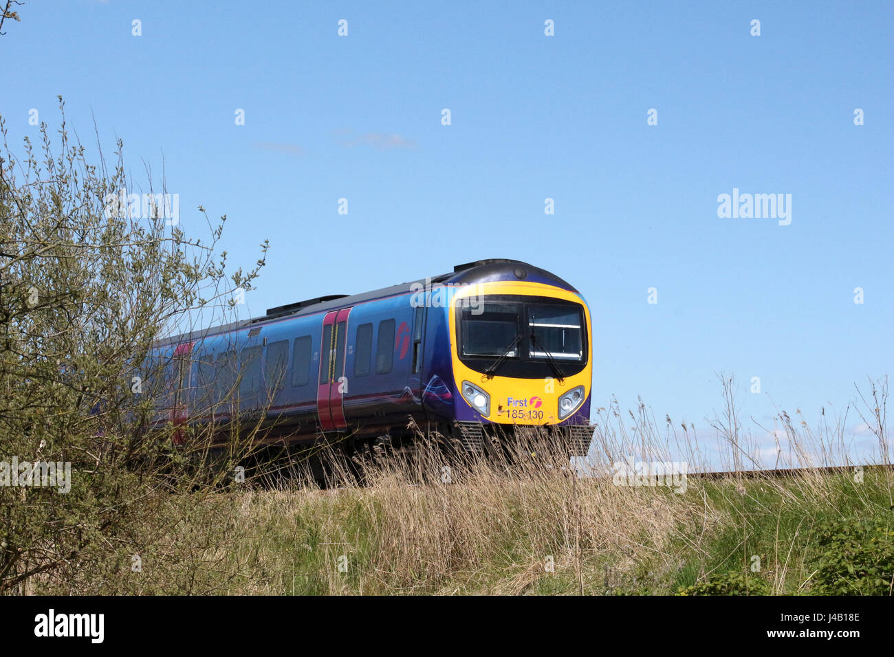 Desiro diesel multiple unit in First Transpennine livery on embankment against blue sky in countryside. - Stock Image