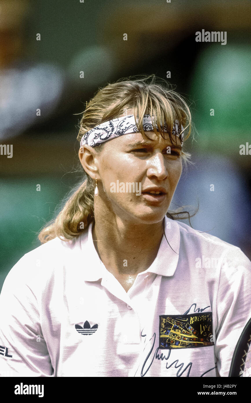 Steffi Graf (GER) competing at the 1990 French Open. - Stock Image