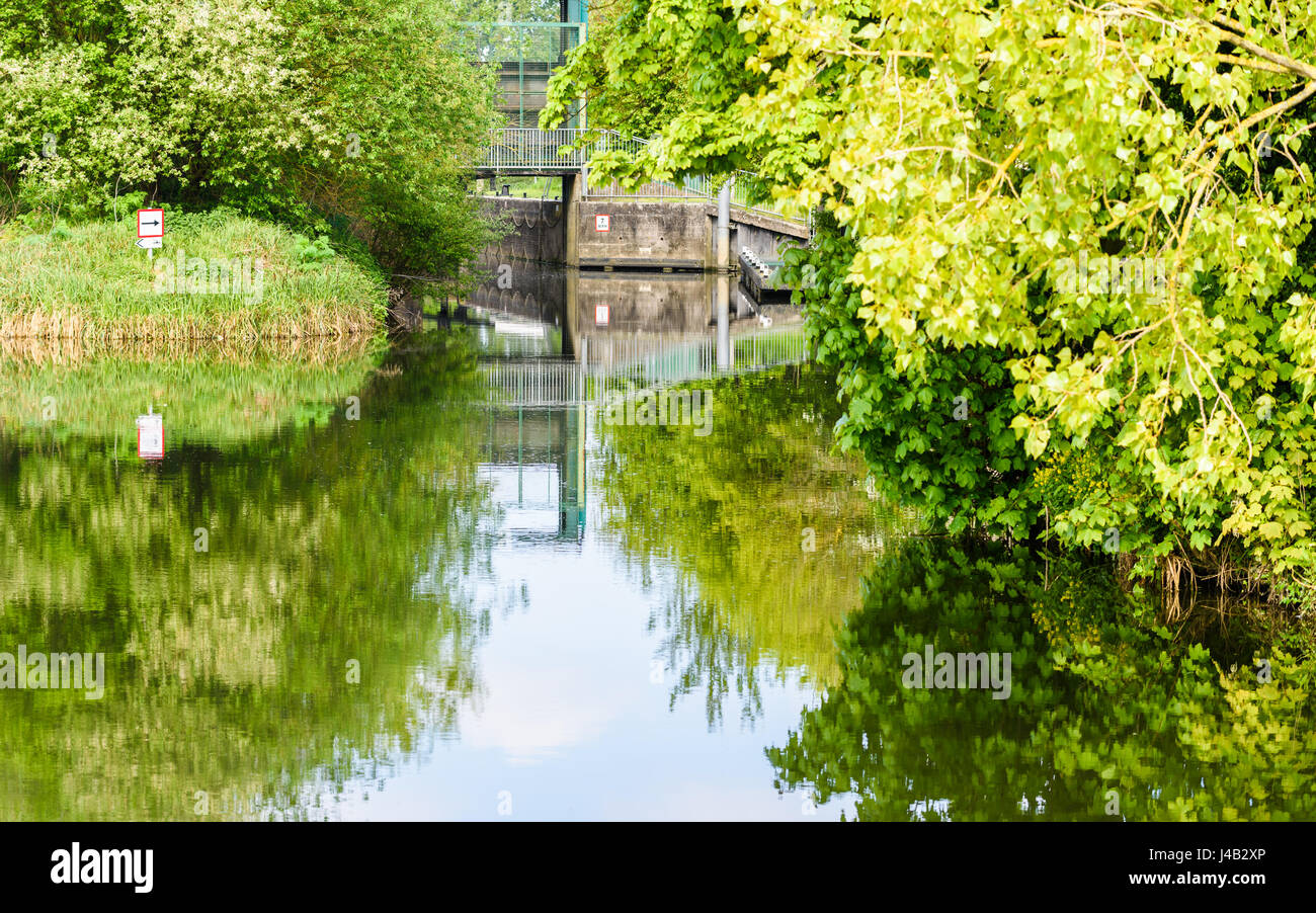 Sign indicating the way to a lock on a calm, sedate river Nene near Northampton in springtime. - Stock Image