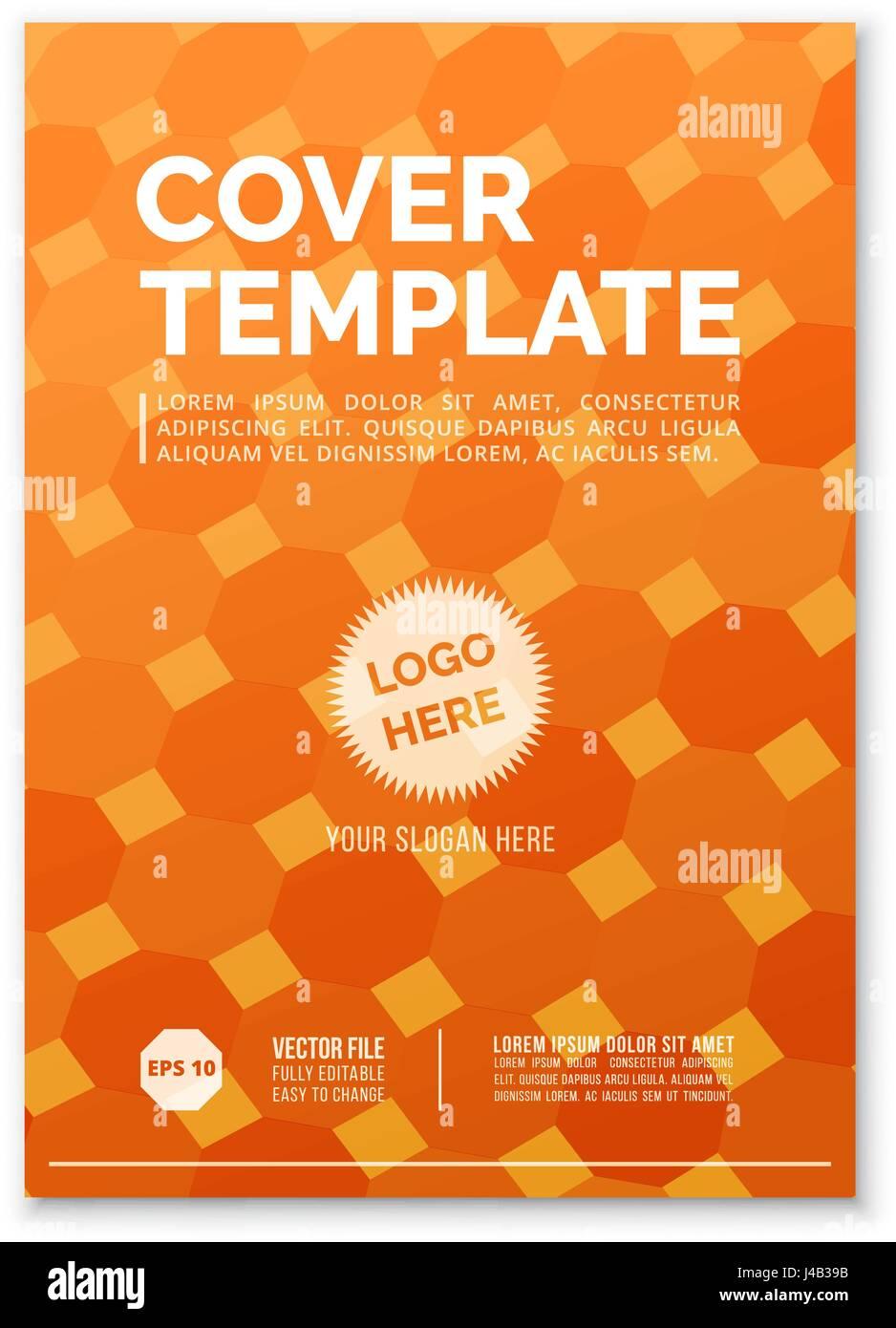 cover design template in a4 size orange square grid annual report