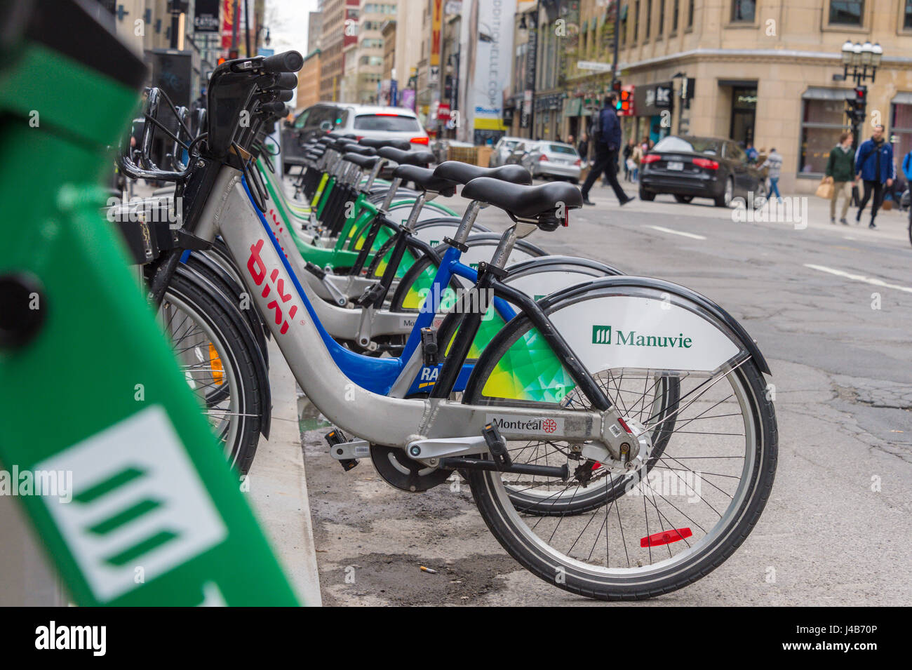 Montreal, CA - 11 May 2017: Bixi bike rental station on Ste-Catherine street - Stock Image