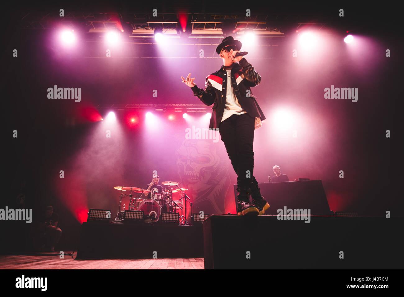 Maurizio Pisciottu popularly known as 'Salmo', is an Italian rapper from Olbia, Sardinia. His 2016 album Hellvisback Stock Photo