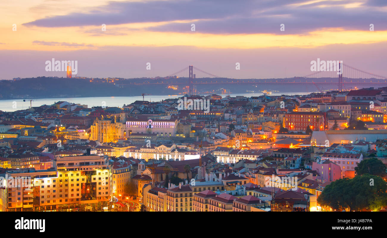 Panoramic view of beautiful Lisbon at twilight. Portugal - Stock Image