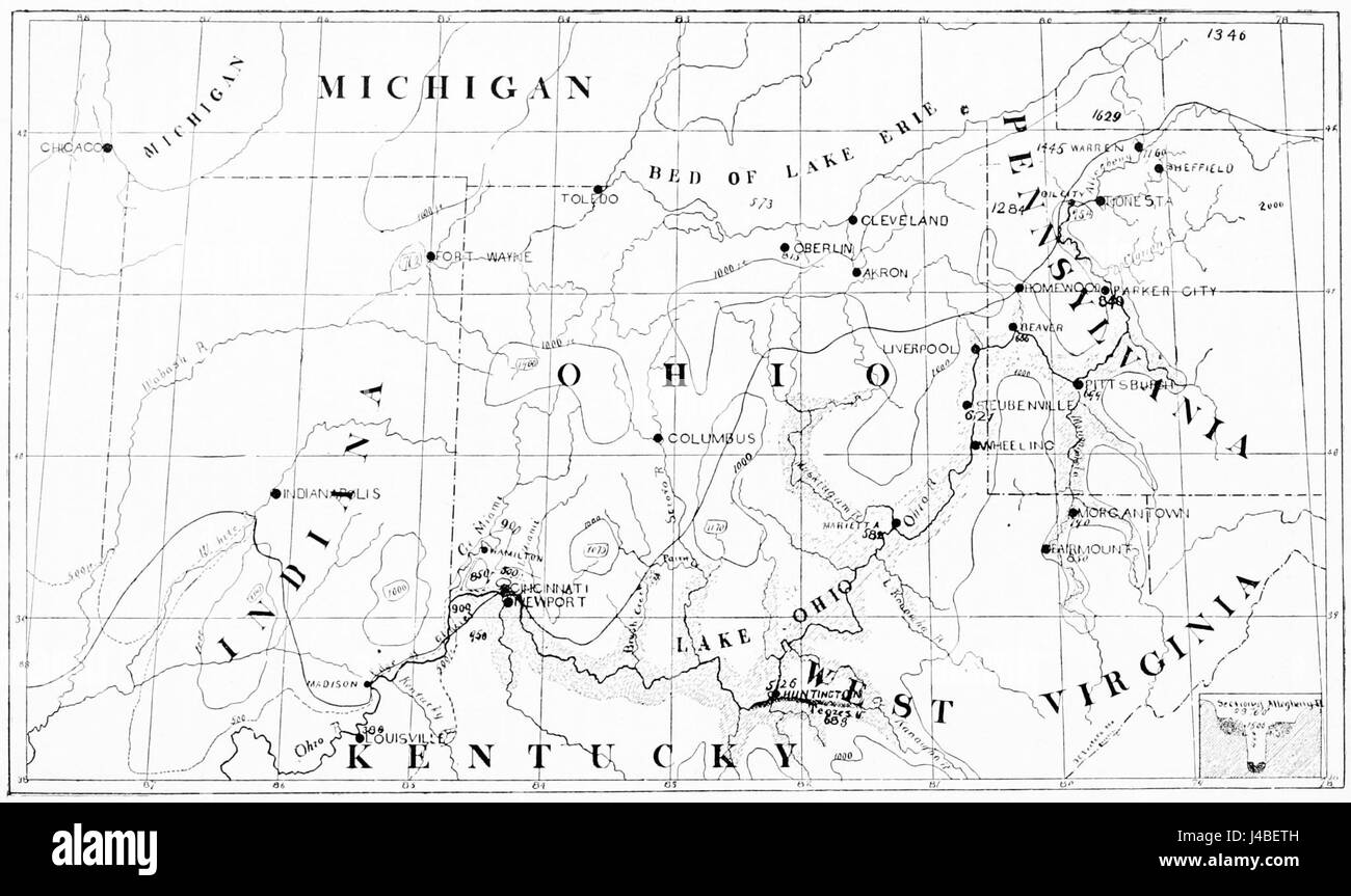 PSM V45 D200 Map showing the contours of the ohio valley - Stock Image