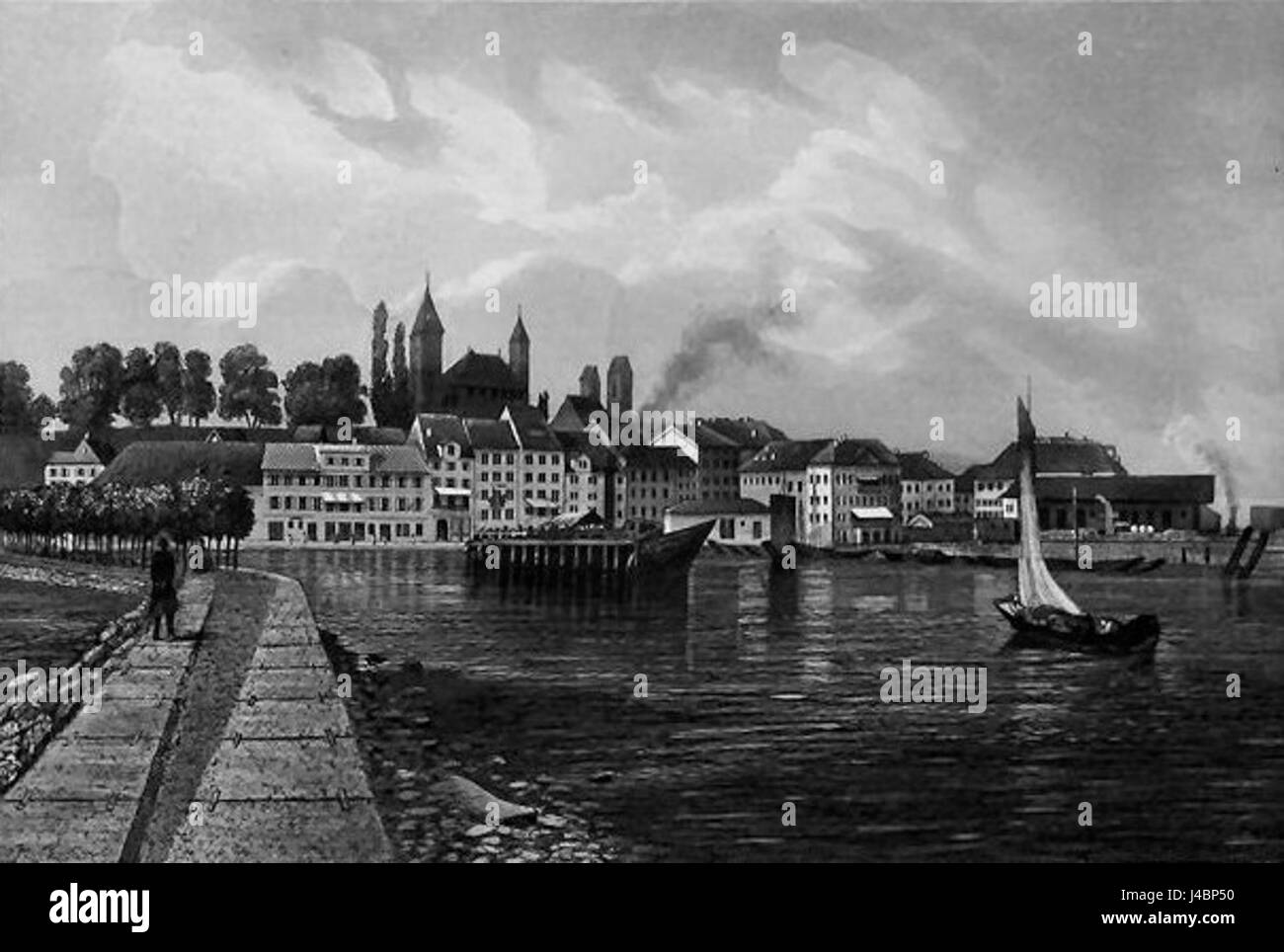 Rapperswil   Stahlstich 1867 - Stock Image