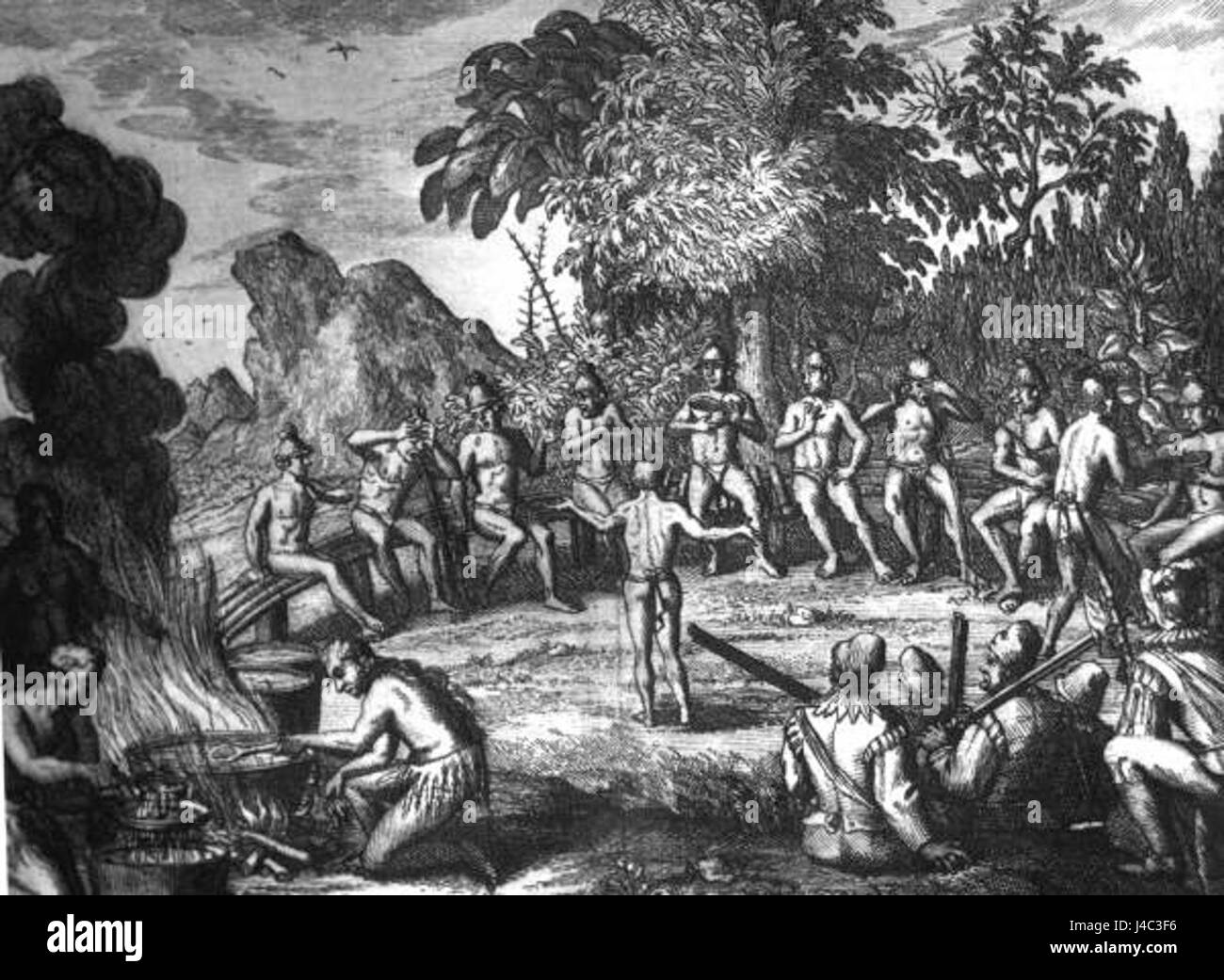 Rc11024 Timucua Indians at a feast drawing possibly by Le Moyne de Morgues Stock Photo