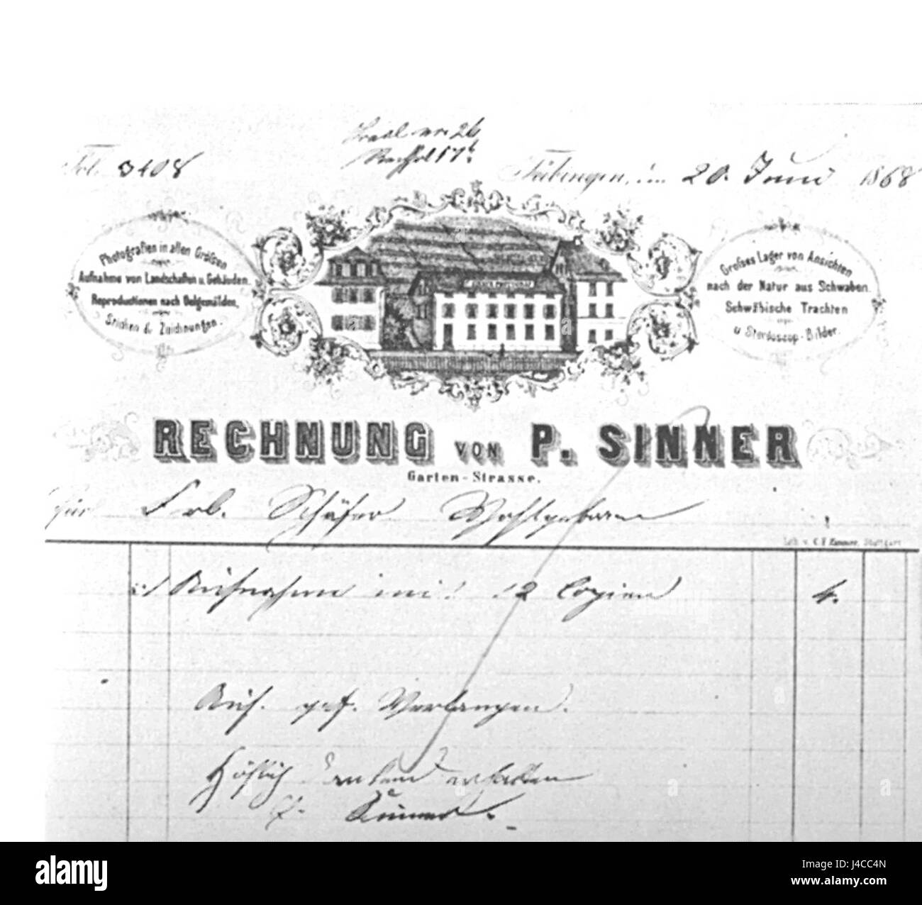 Rechnungsformular Paul Sinner Stock Photo: 140414533 - Alamy