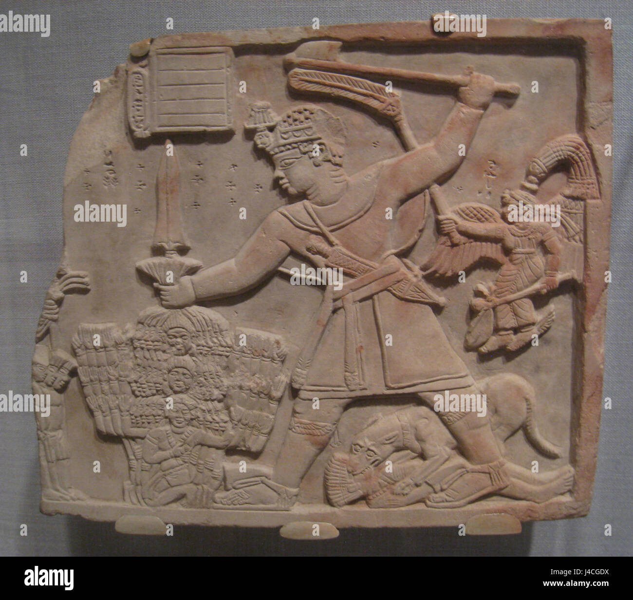 Prince Arikankharer Slaying His Enemies, Meroitic, beginning of first century AD, sandstone   Worcester Art Museum - Stock Image