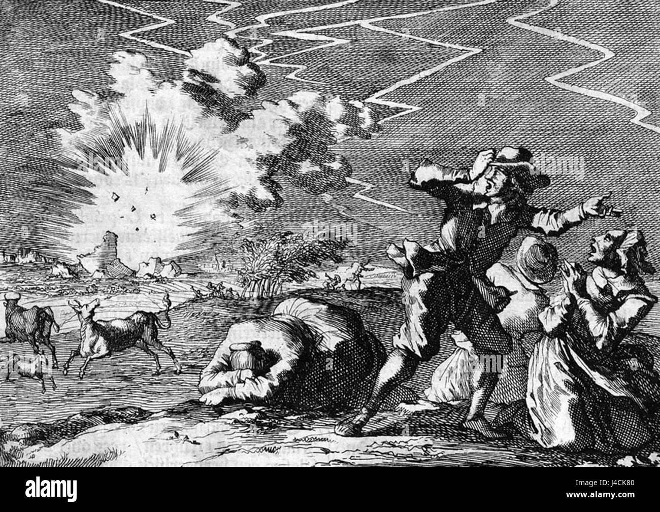 Polvertoren van Rijnberk vliegt de lucht in   Explosion Pulverturm Rheinberg (1698) CN Stock Photo