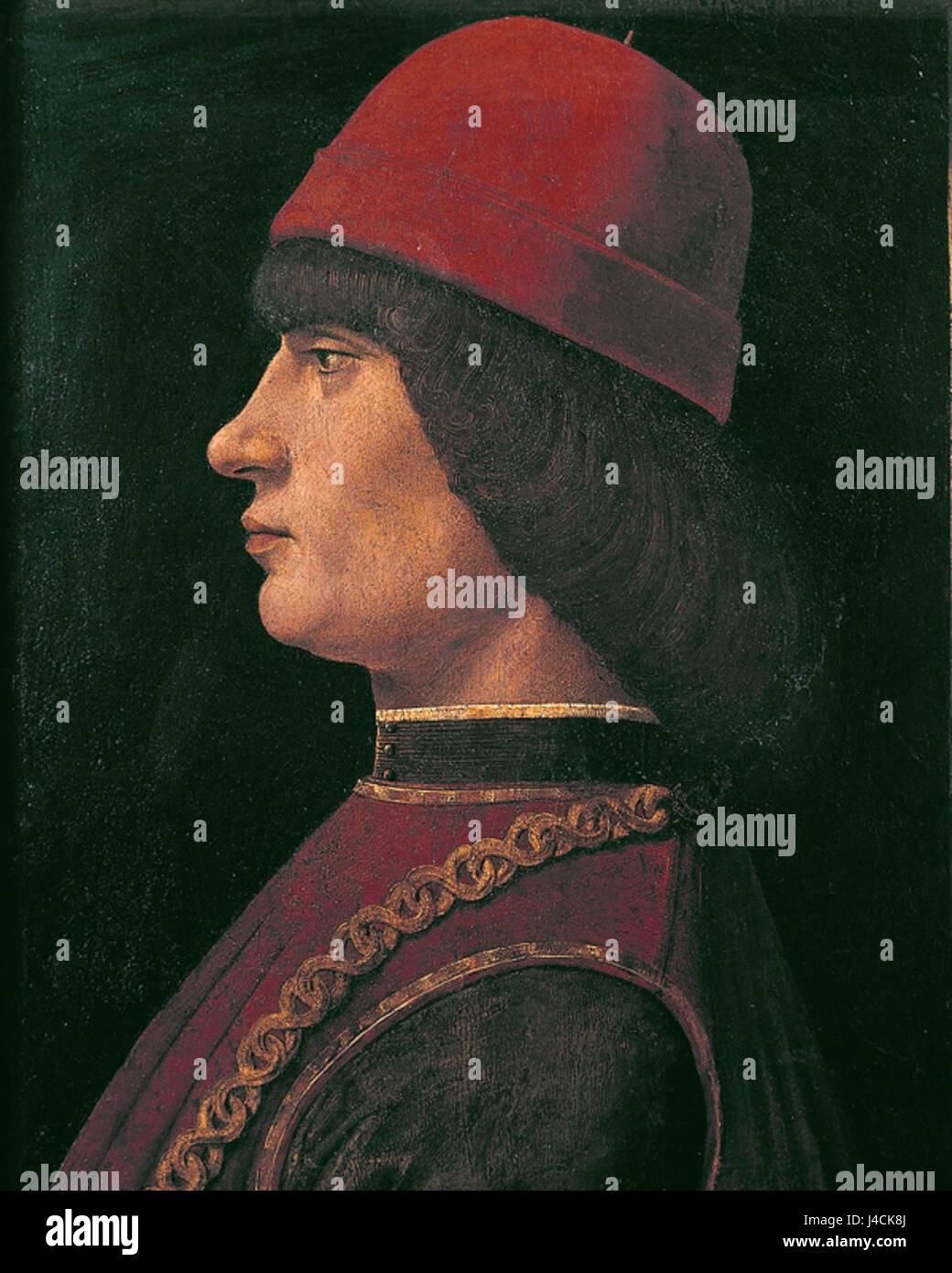 Ritratto di Giovanni Pico della Mirandola (XV secolo), olio su tela, particolare. Bergamo, Accademia Carrara - Stock Image