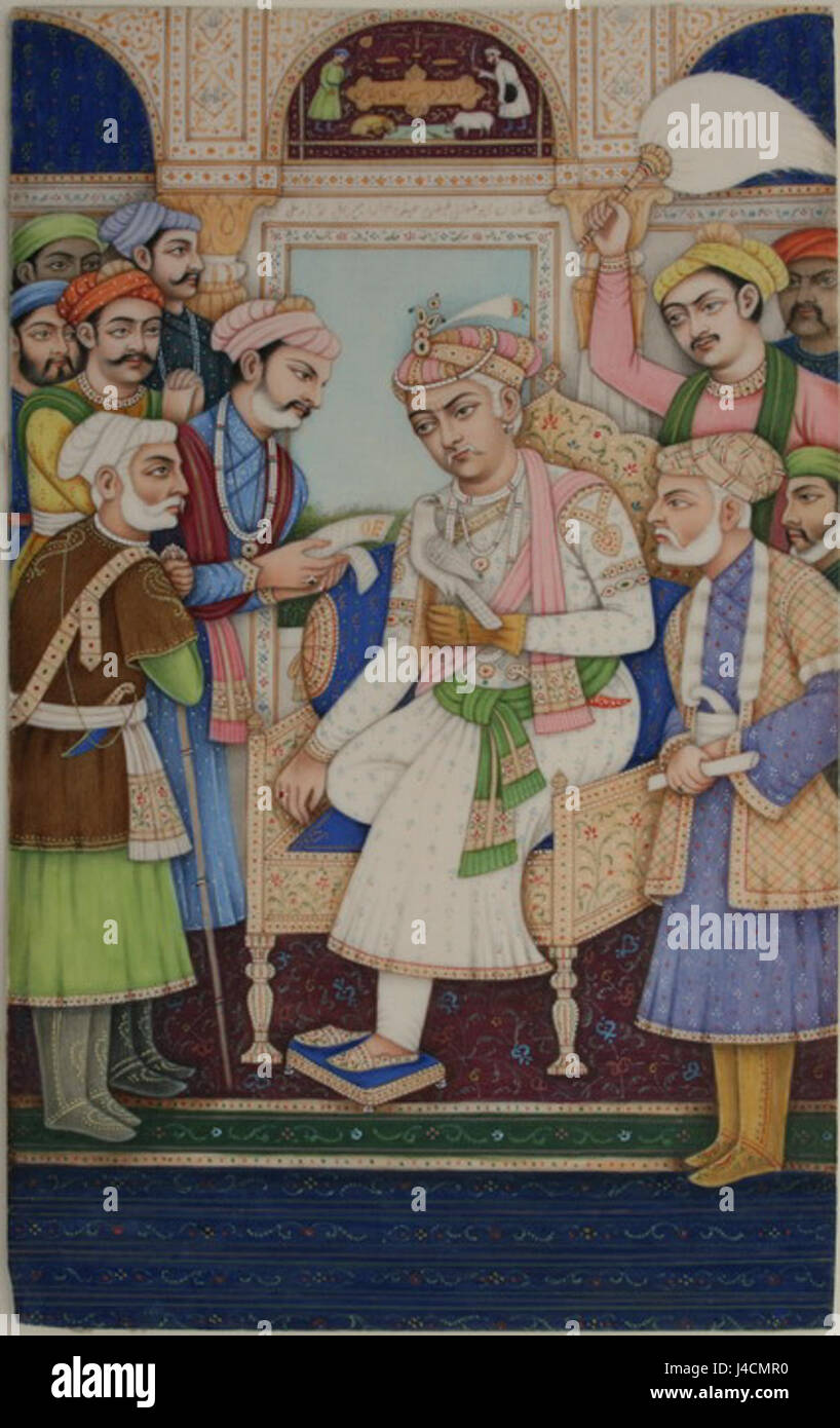 Posthumous portrait of Mughal Emperor Akbar enthroned with hawk receiving dignitaries - Stock Image