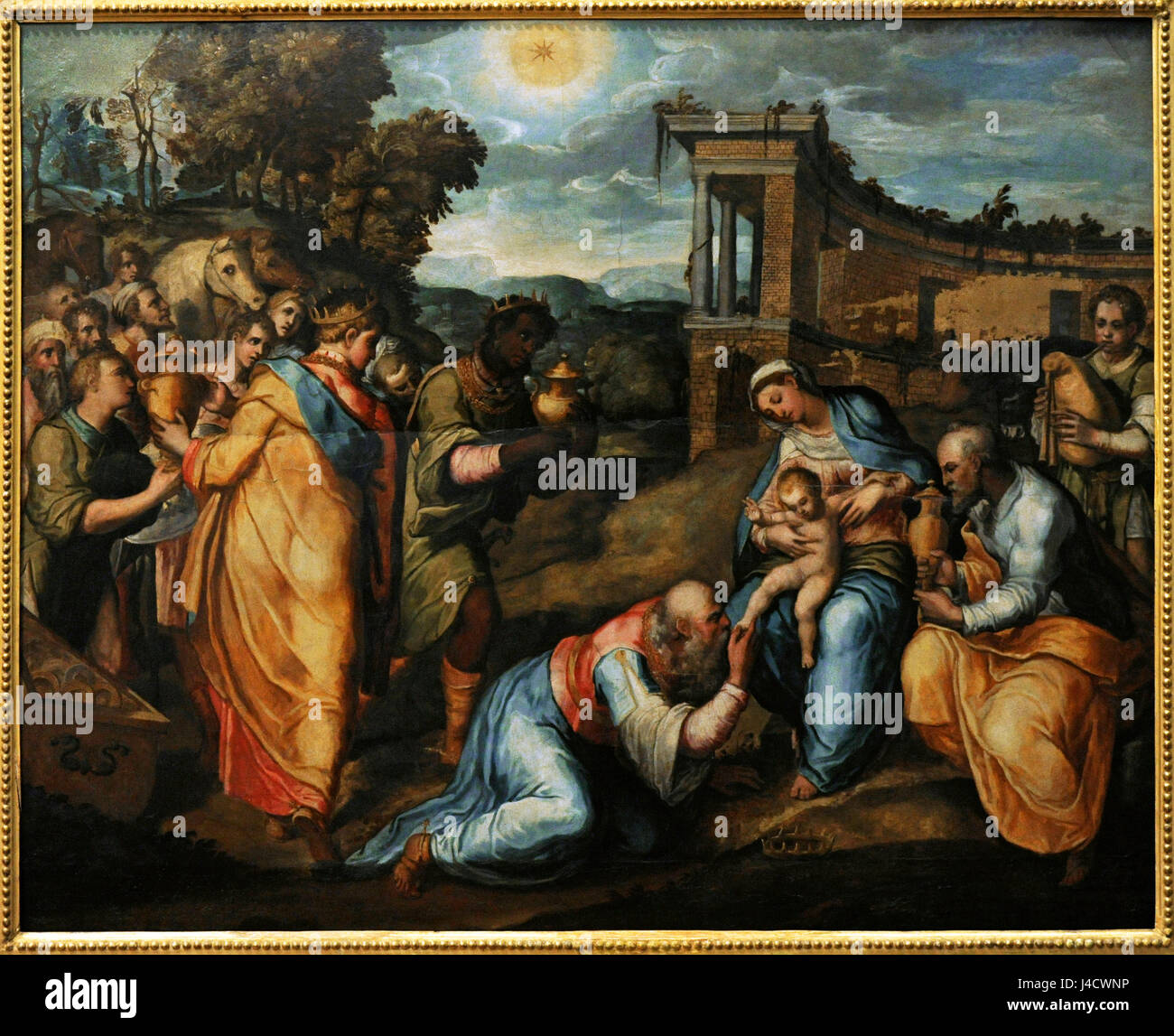 Marco Pino (1521-1583). Italian painter. Renaissance and Mannerist period.  Epiphany or Adoration of the Magi. National Museum of Capodimonte. Naples.  Italy.