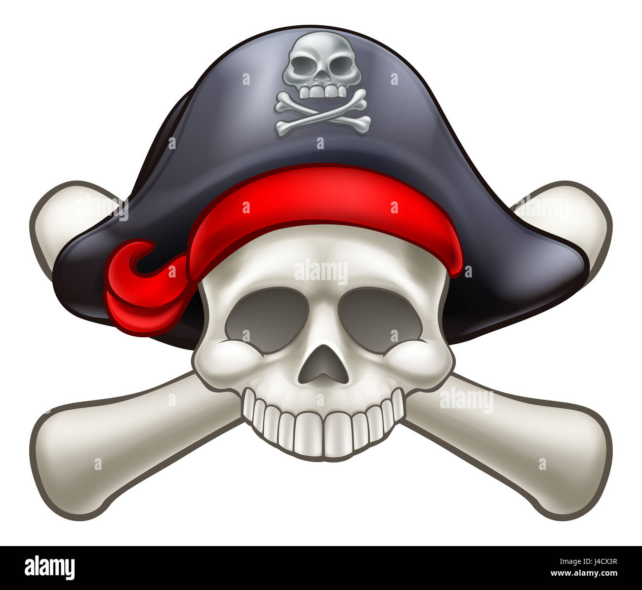 Skull and crossbones Pirate Jolly Roger - Stock Image