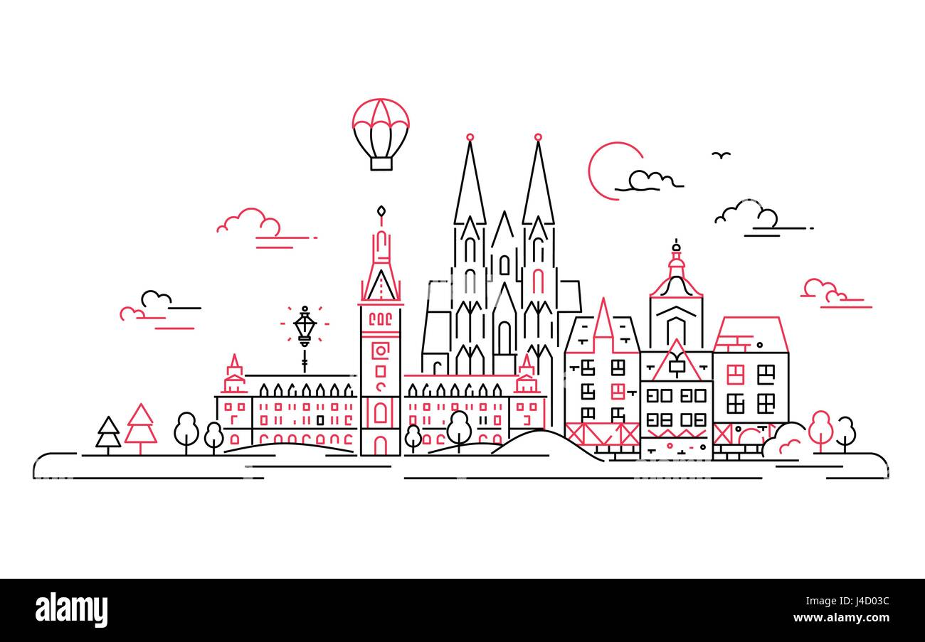 European countries - vector line travel illustration - Stock Vector