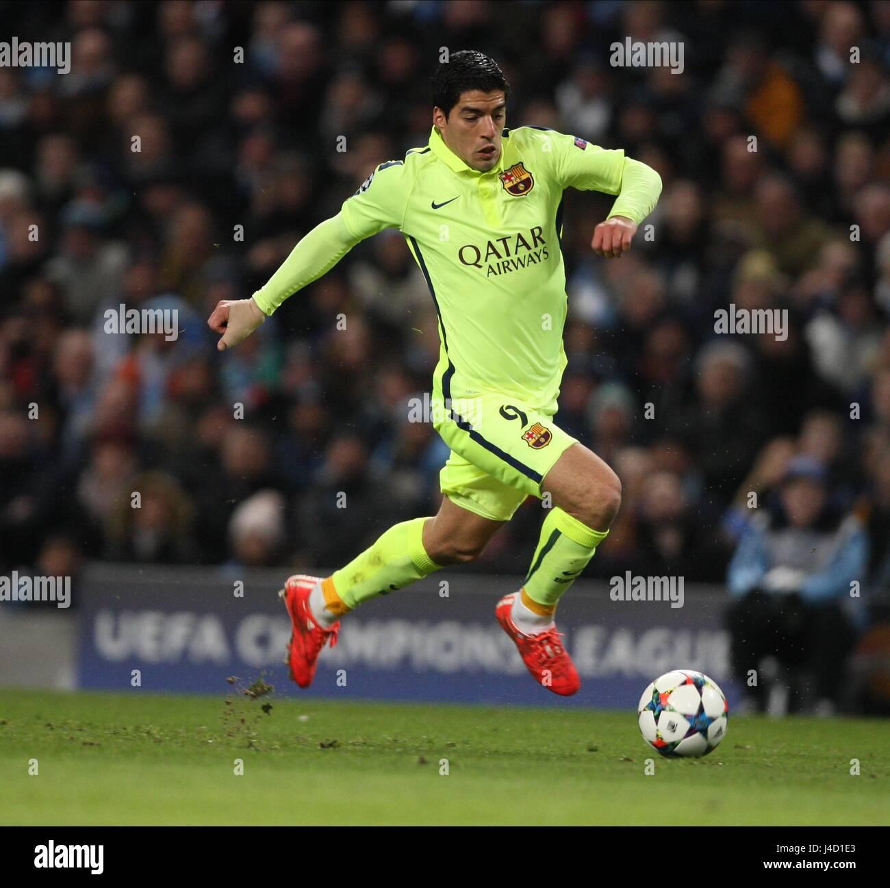 LUIS SUAREZ FC BARCELONA ETIHAD STADIUM MANCHESTER ENGLAND 24 February 2015 - Stock Image