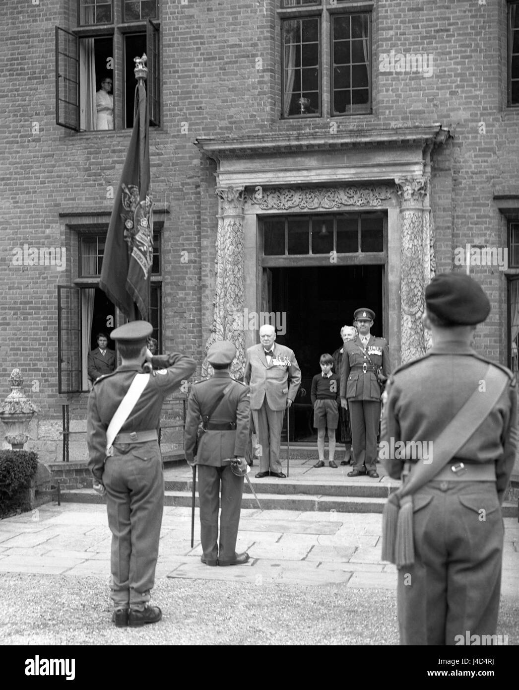 sir winston churchill at the entrance to his home at. Black Bedroom Furniture Sets. Home Design Ideas