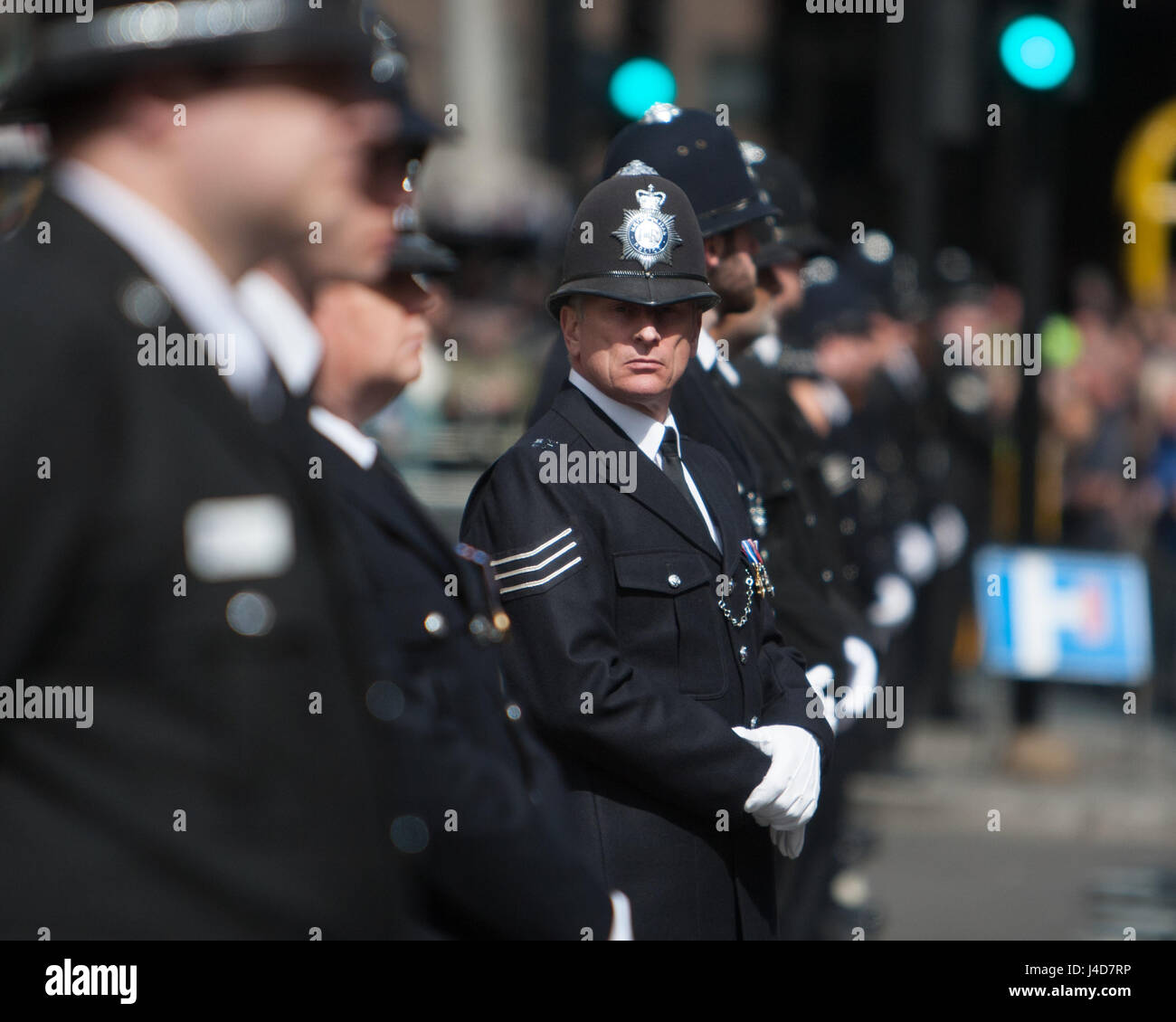 Funeral procession of PC Keith Palmer on it's way to Southwark Cathedral.  Featuring: Atmosphere, View Where: - Stock Image