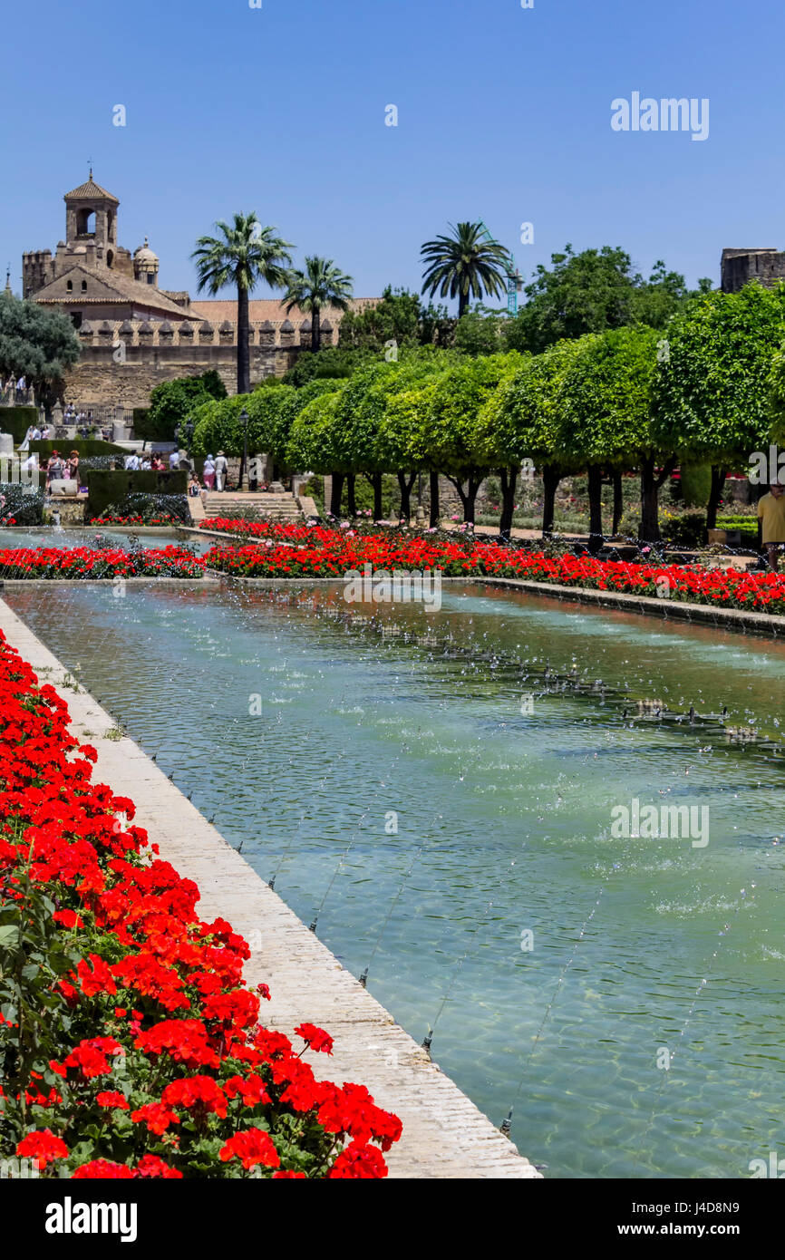 Fountains and gardens, Alcazar de los Reyes Cristianos (Palace of the Christian Monarchs), Cordoba, Spain - Stock Image
