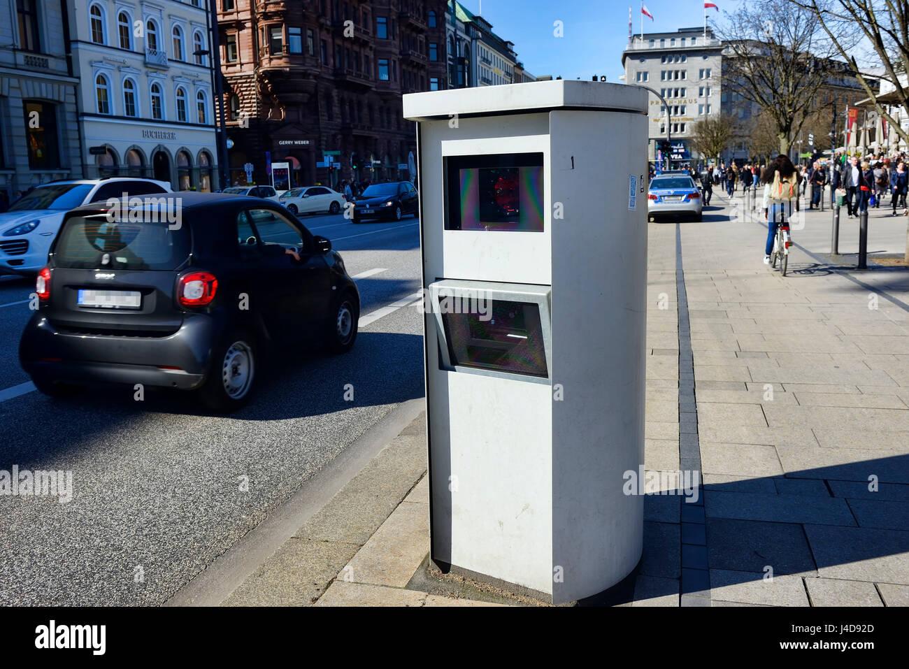 Stationary radar device in the Jungfernstieg in Hamburg, Germany, Europe, Stationaeres Radargeraet am Jungfernstieg - Stock Image