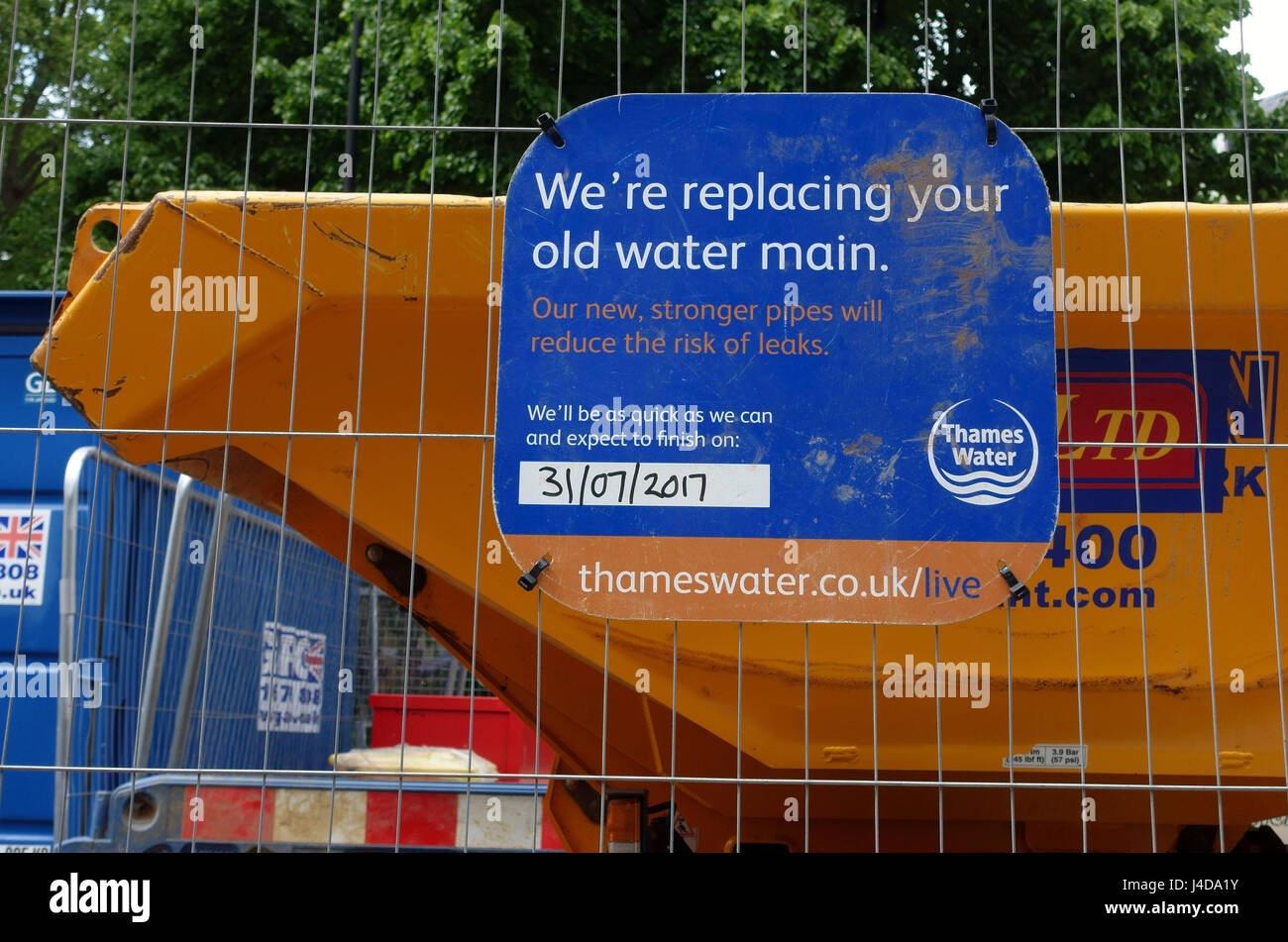 Thames Water works to improve water mains in Islington, North London - Stock Image