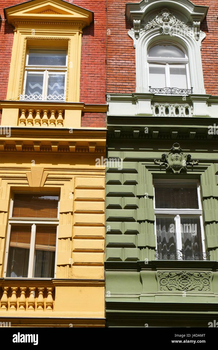 Painted building facade in Prague on spring day in April 2017 - Stock Image