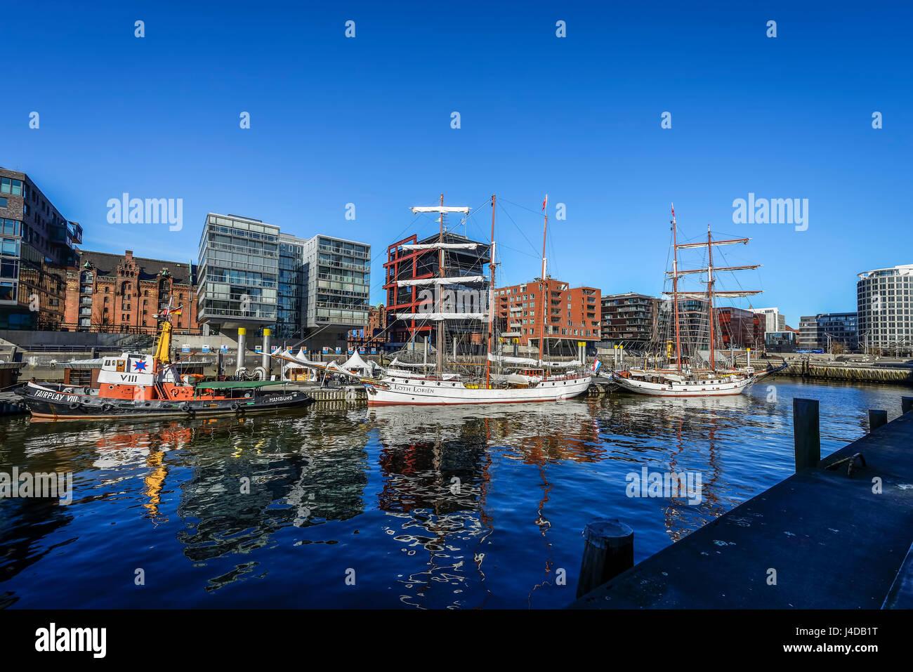 Sandy gate harbour in the harbour city of Hamburg, Germany, Europe, Sandtorhafen in der Hafencity von Hamburg, Deutschland, - Stock Image