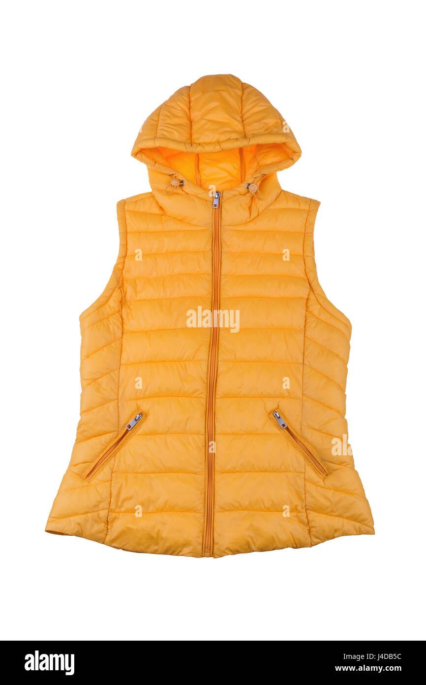 Yellow female vest isolated on white background. - Stock Image