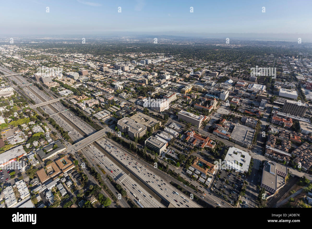 Aerial view of downtown Pasadena and the 210 freeway near Los Angeles, California. - Stock Image