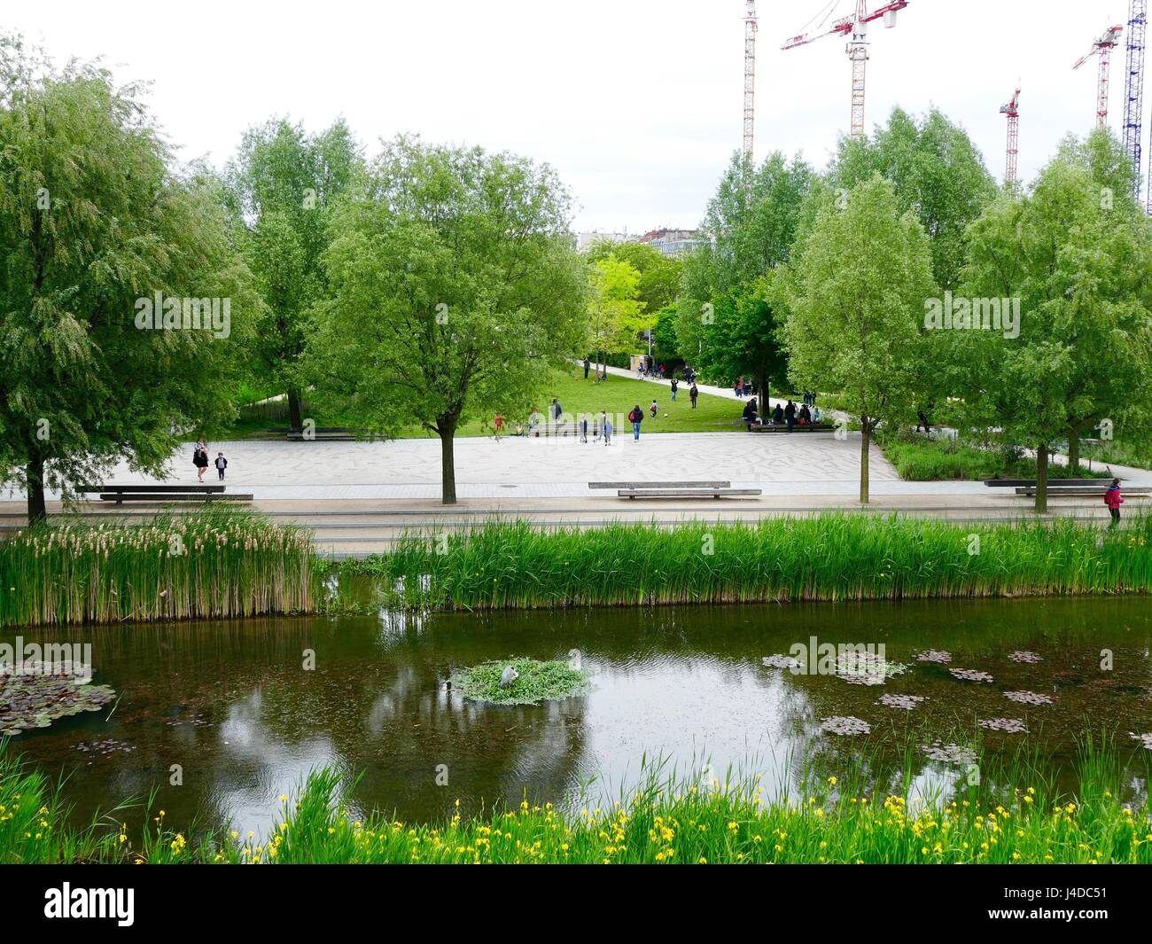 Parc Martin Luther King, the center of the new Clichy-Batignolles Eco District, 17th Arrondissement, Paris, France - Stock Image