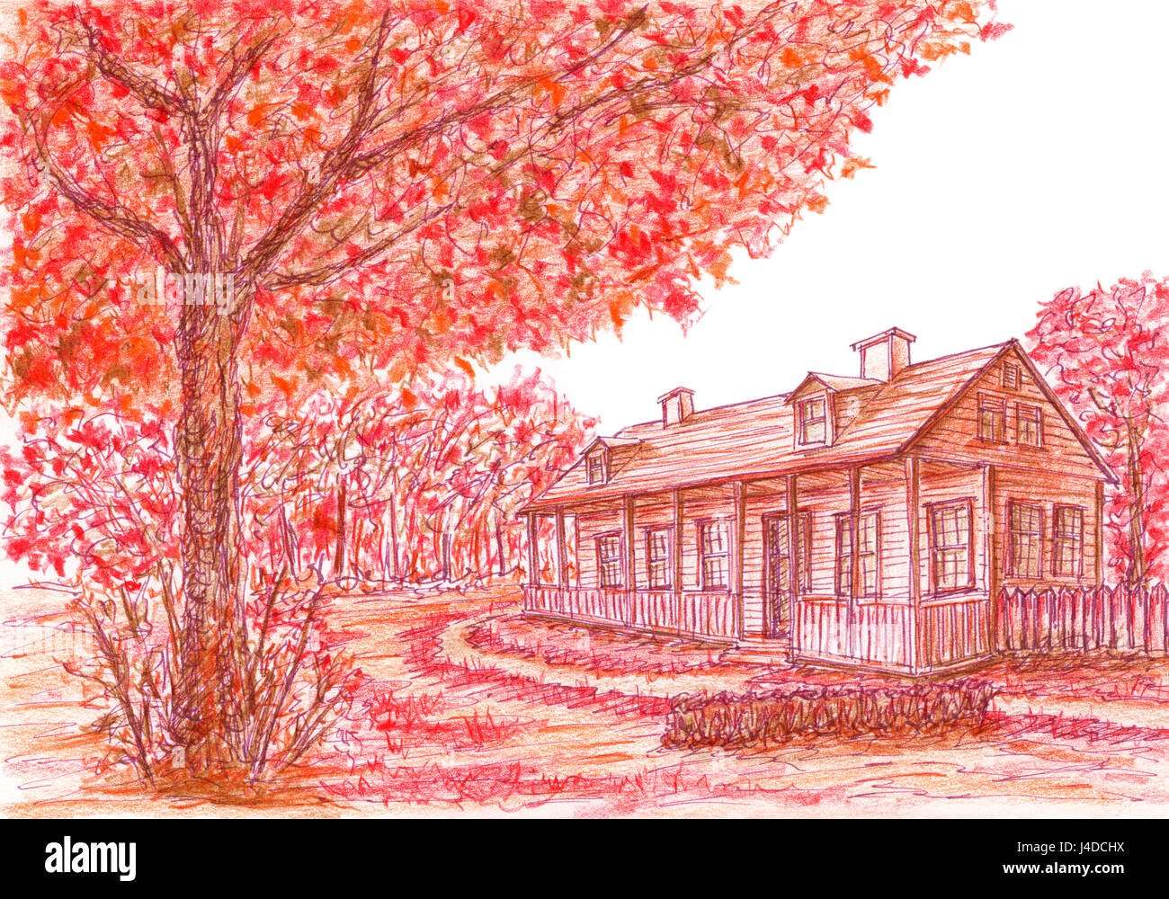 Sketch of ancient house and tree in loose style. Ink and colored pencils on paper. - Stock Image