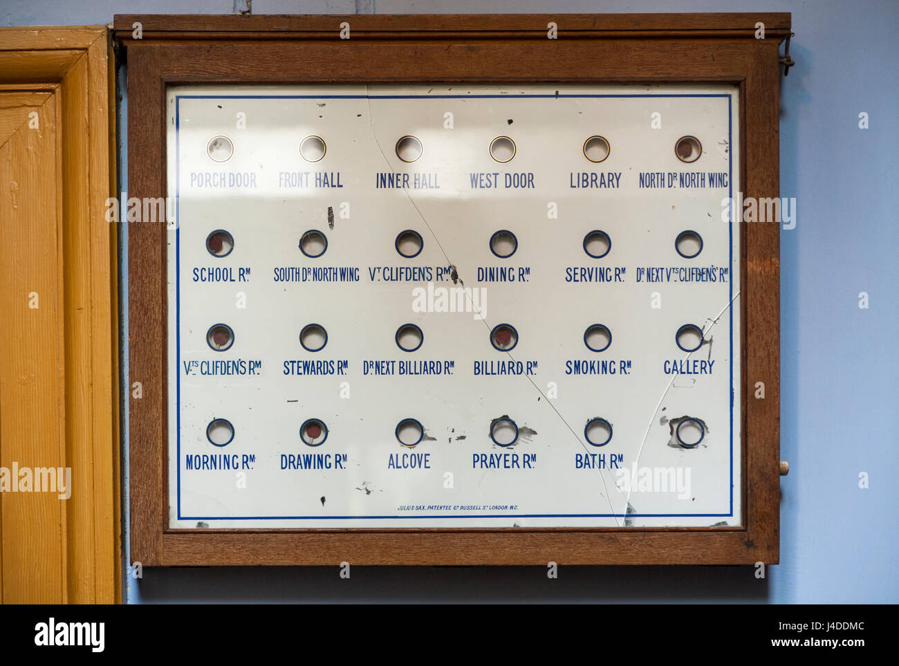 Servants' call / calling / bell display board, to indicate which part of the house / where to attend to / where - Stock Image