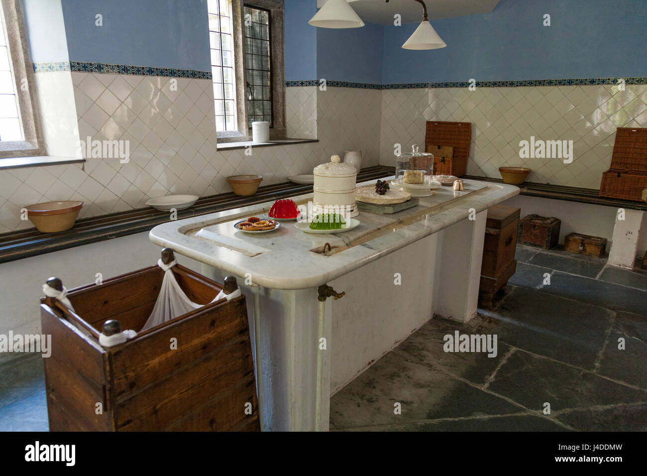 The dairy – part of the kitchen / kitchens – at Lanhydrock, Bodmin, Cornwall. (70) - Stock Image
