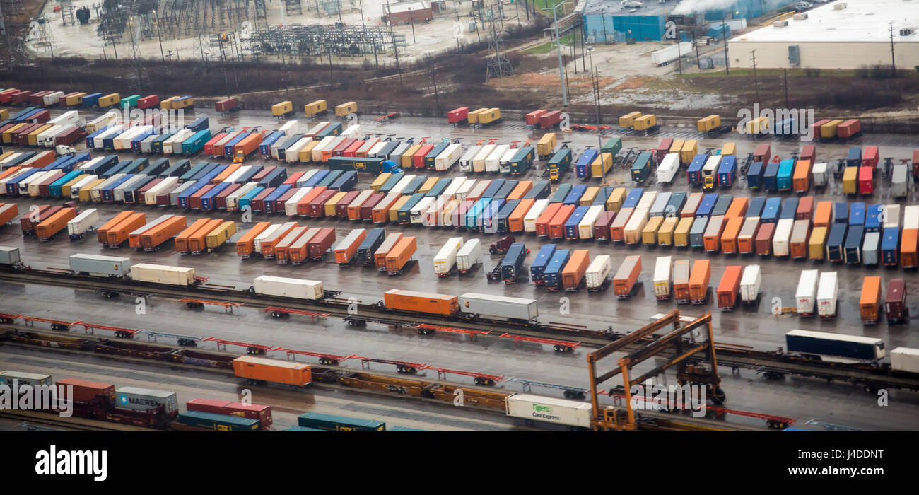 Chicago, Illinois - Trailers waiting to be loaded on trains at an intermodal rail yard. - Stock Image